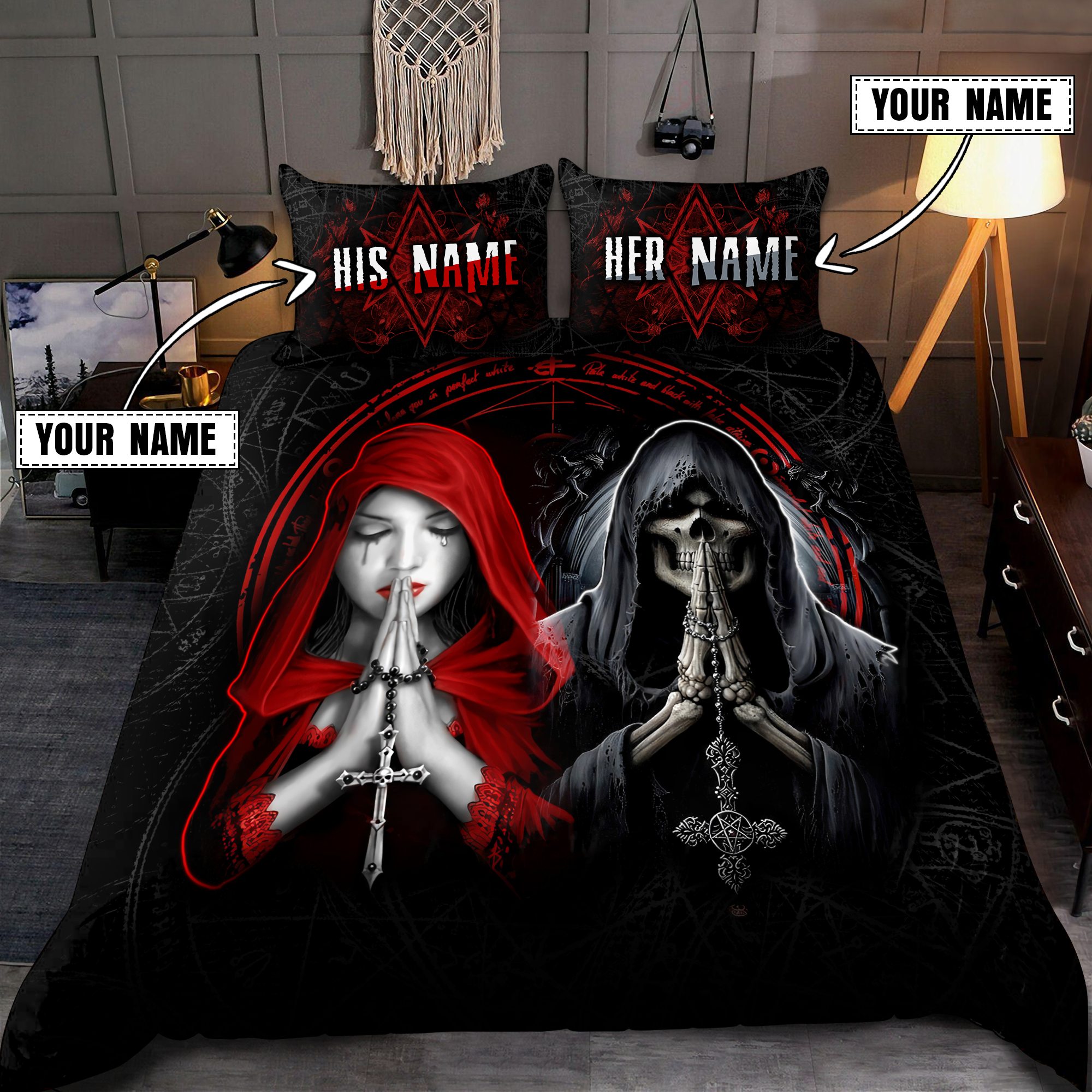 Couple Skull and girl custom name Bedding Set3