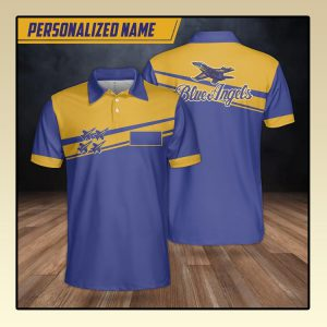 Custom Name Blue Angels Polo Shirt3
