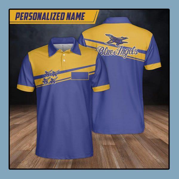 Custom Name Blue Angels Polo Shirt4
