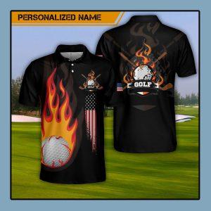 Custom Name Golf Fire AOP Polo Shirt1