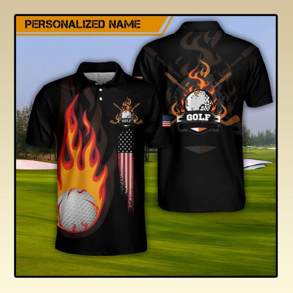Custom Name Golf Fire AOP Polo Shirt2