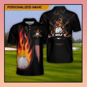 Custom Name Golf Fire AOP Polo Shirt3