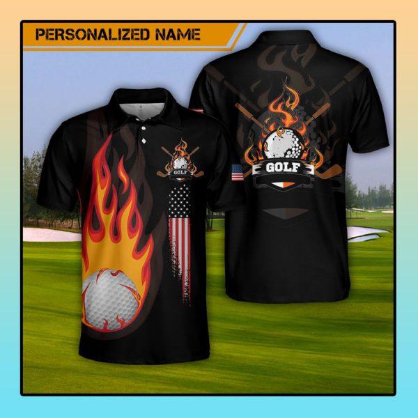 Custom Name Golf Fire AOP Polo Shirt4
