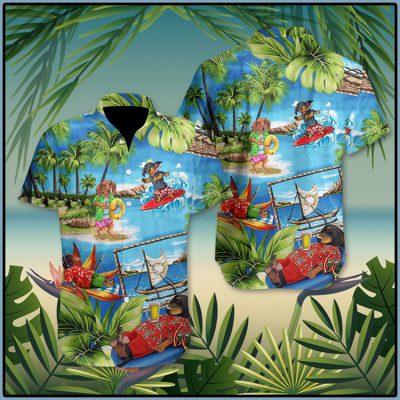 Dachshund American Summer Hawaii Shirt 2 1