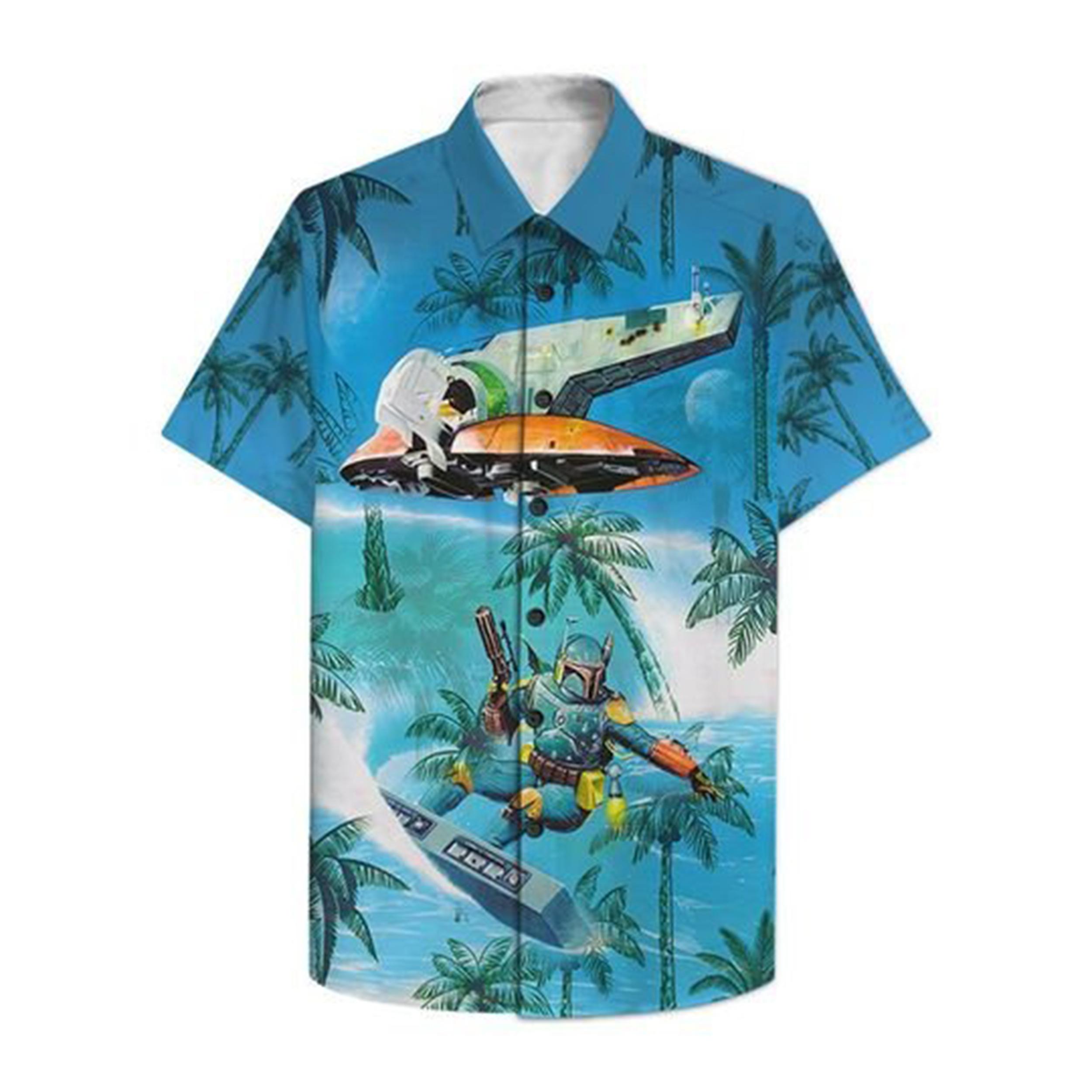 Dadalorian Surfing Hawaiian Hawaiian Shirt 1