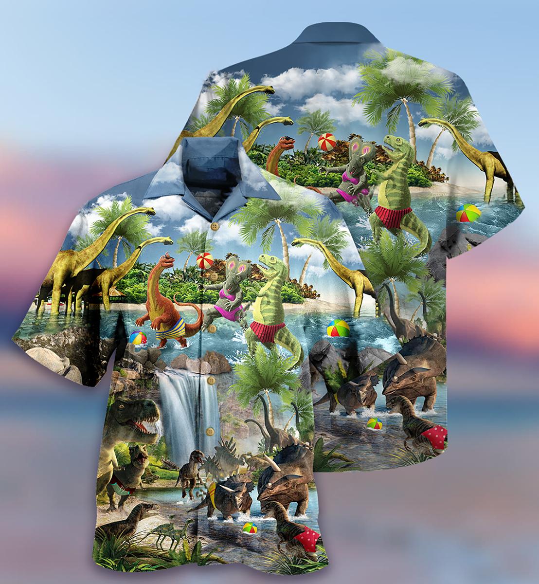 Dinosaurs swimming beach Hawaiian shirt