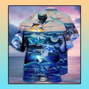 Dolphin ocean Hawaiian shirt1