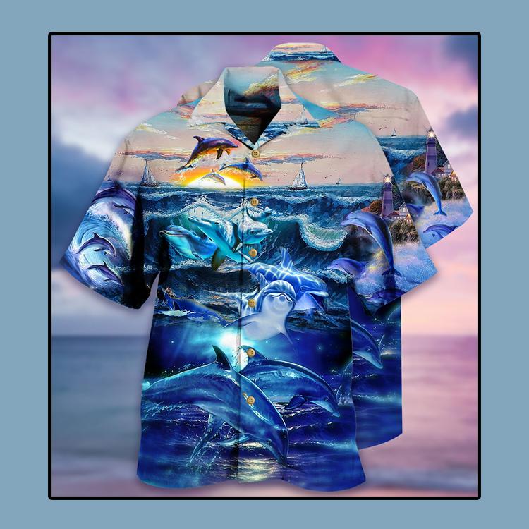 Dolphin ocean Hawaiian shirt3