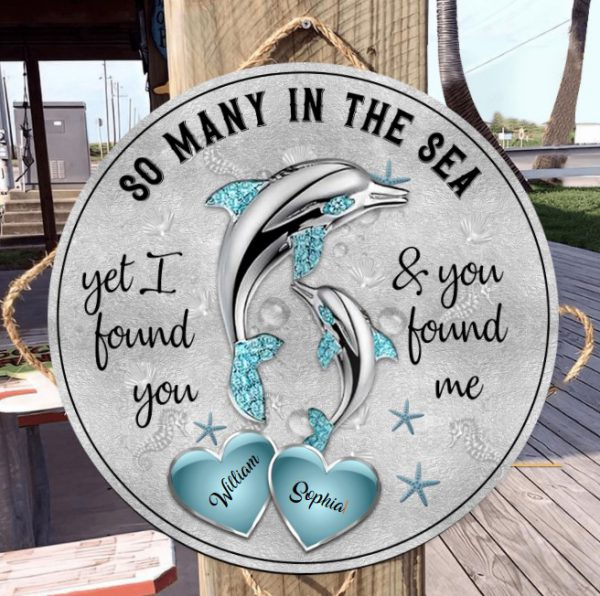 Dolphins So many in the sea custom name circle sign