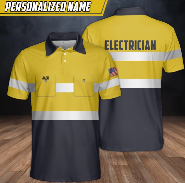 Electrician custom name polo shirt