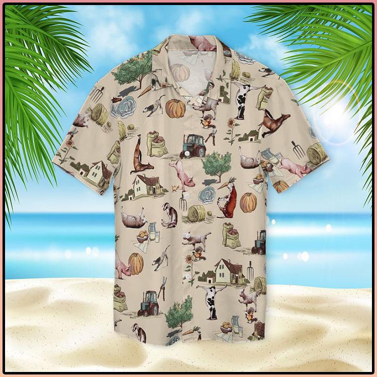 Farm Animal Yoga Pose Hawaiian Shirt3