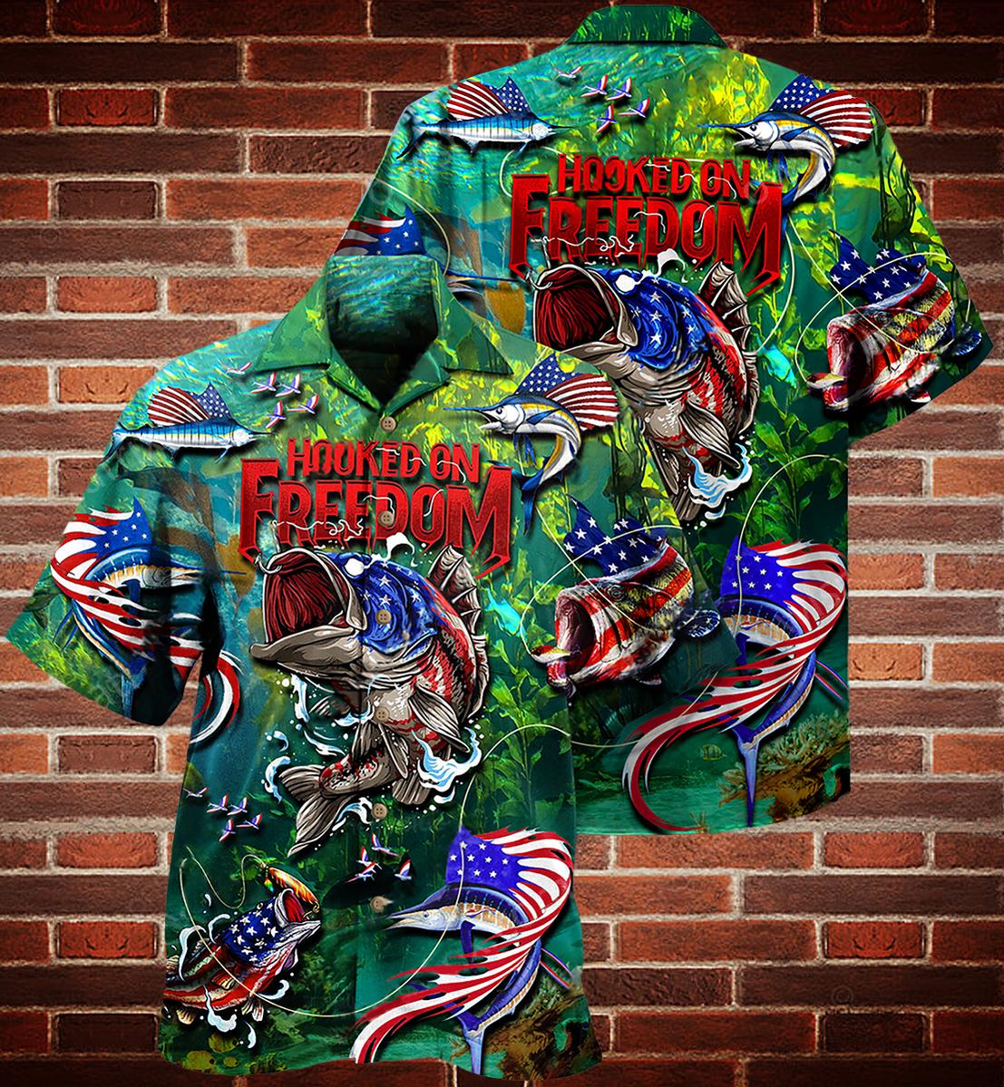 Fishing American flag hooked on freedom Hawaiian shirt