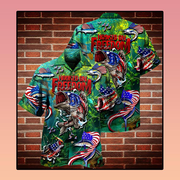 Fishing American flag hooked on freedom Hawaiian shirt3