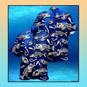 Fishing fishbone style Hawaiian shirt1