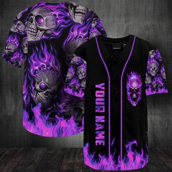 Flame skull baseball jersey shirt