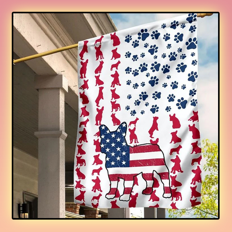 Frenchie American house flag and garden flag2