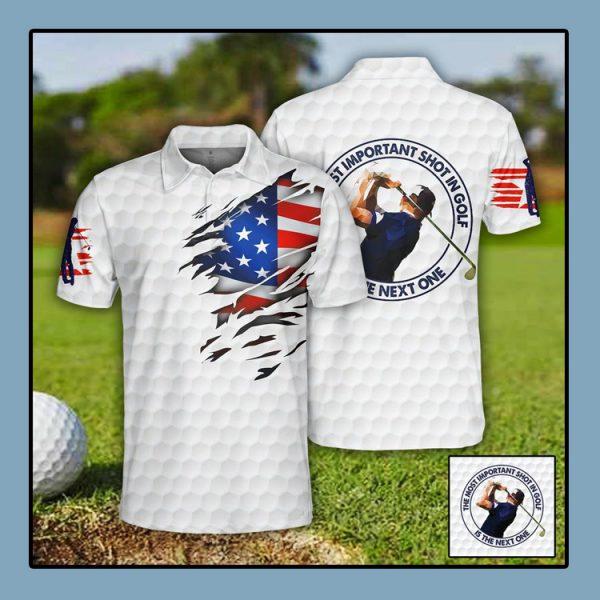 Golf US Flag Polo Shirt1