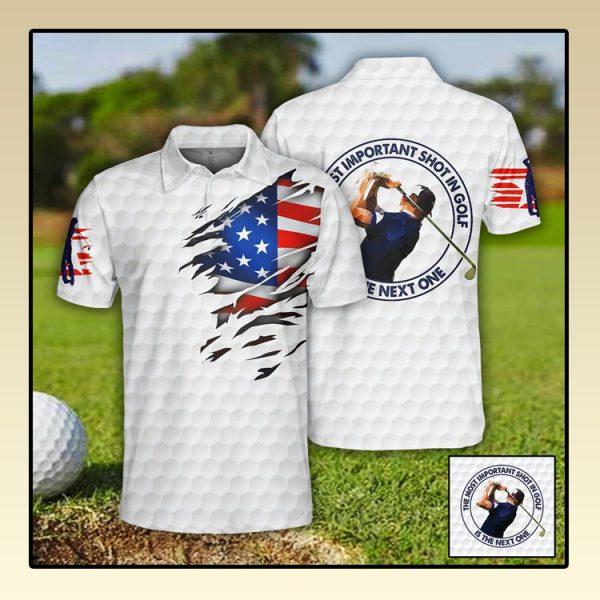Golf US Flag Polo Shirt2