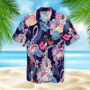 Guitar With Treble Clef Hawaiian Shirt