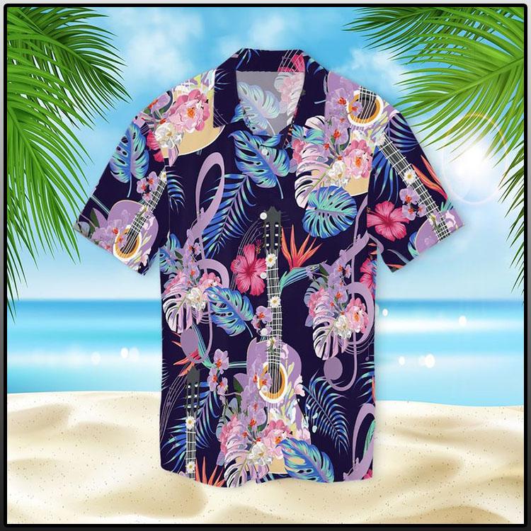 Guitar With Treble Clef Hawaiian Shirt1