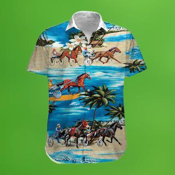 Harness Racing On The Beach Hawaiian Shirt 1