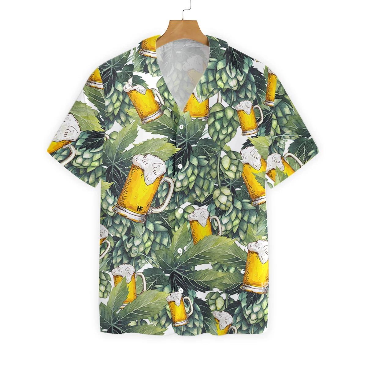 Hops and craft beer hawaiian shirt