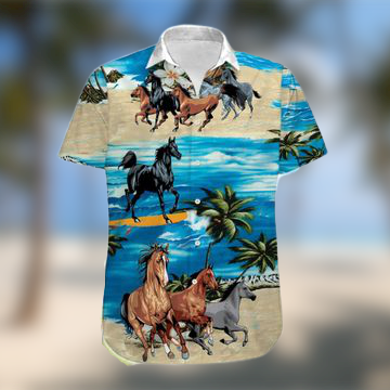 Horses On The Beach Hawaiian Shirt 1
