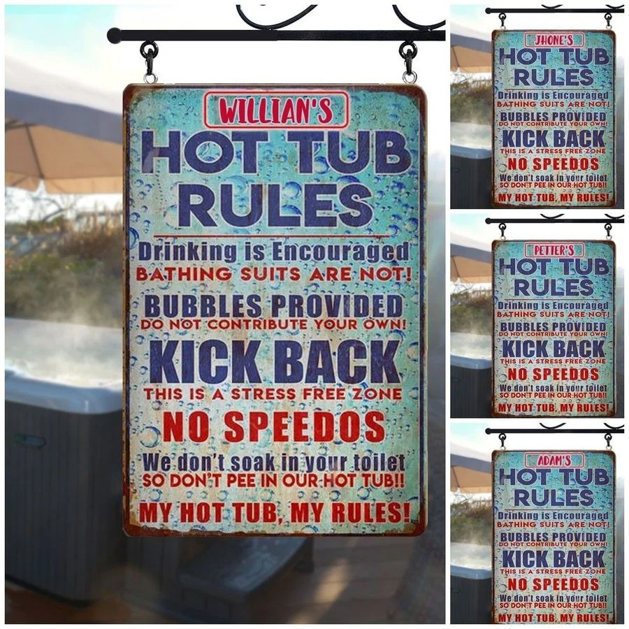 Hot tub rules custom name metal sign4