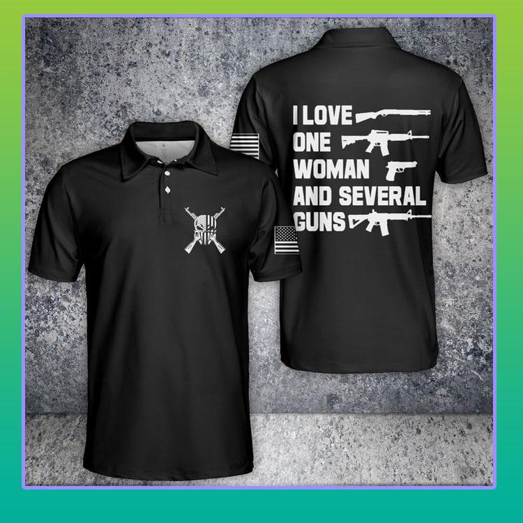 I love one woman and several guns American flag polo shirt4