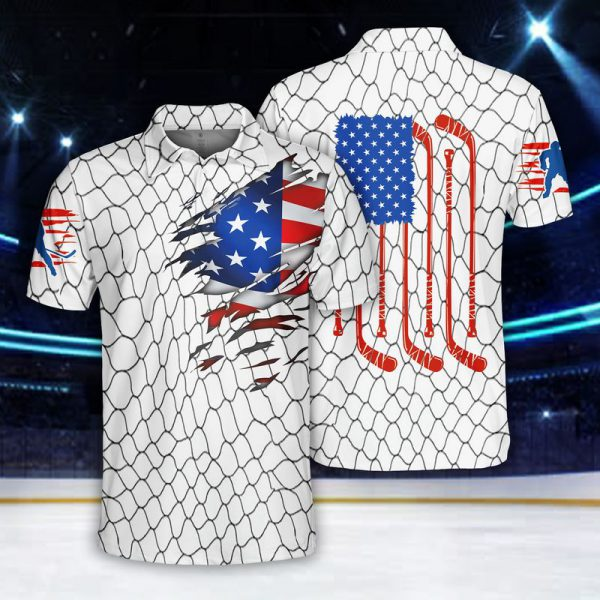 Ice Hockey US Flag Polo Shirt
