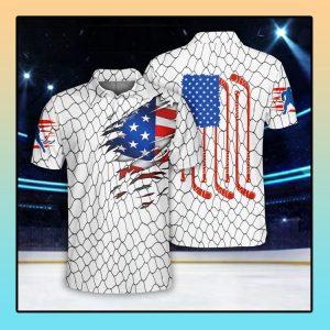 Ice Hockey US Flag Polo Shirt1