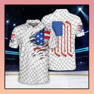 Ice Hockey US Flag Polo Shirt2