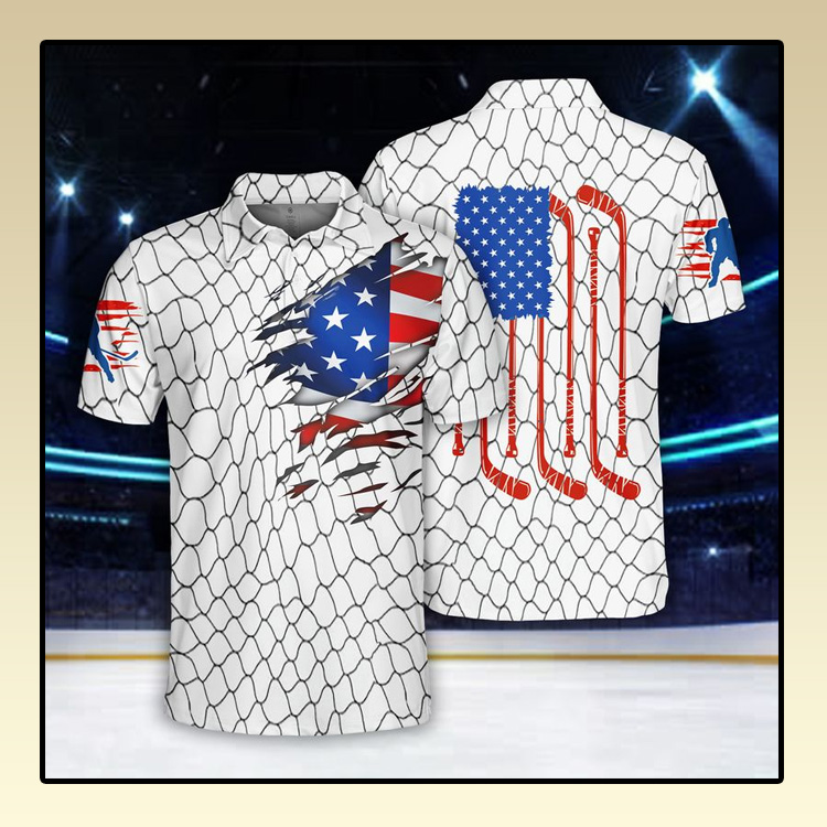 Ice Hockey US Flag Polo Shirt3