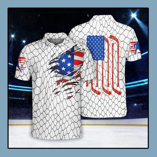 Ice Hockey US Flag Polo Shirt4