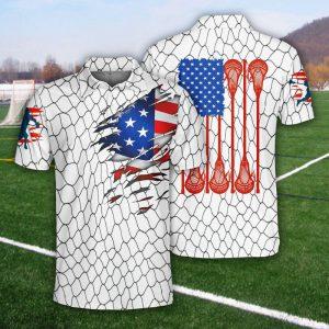 Lacrosse US Flag Polo Shirt