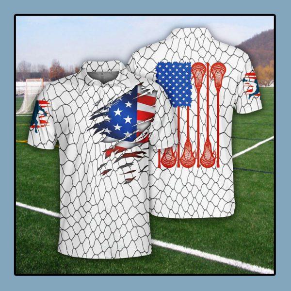 Lacrosse US Flag Polo Shirt1