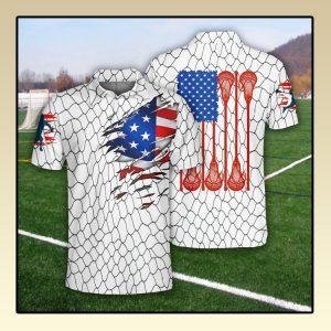 Lacrosse US Flag Polo Shirt2