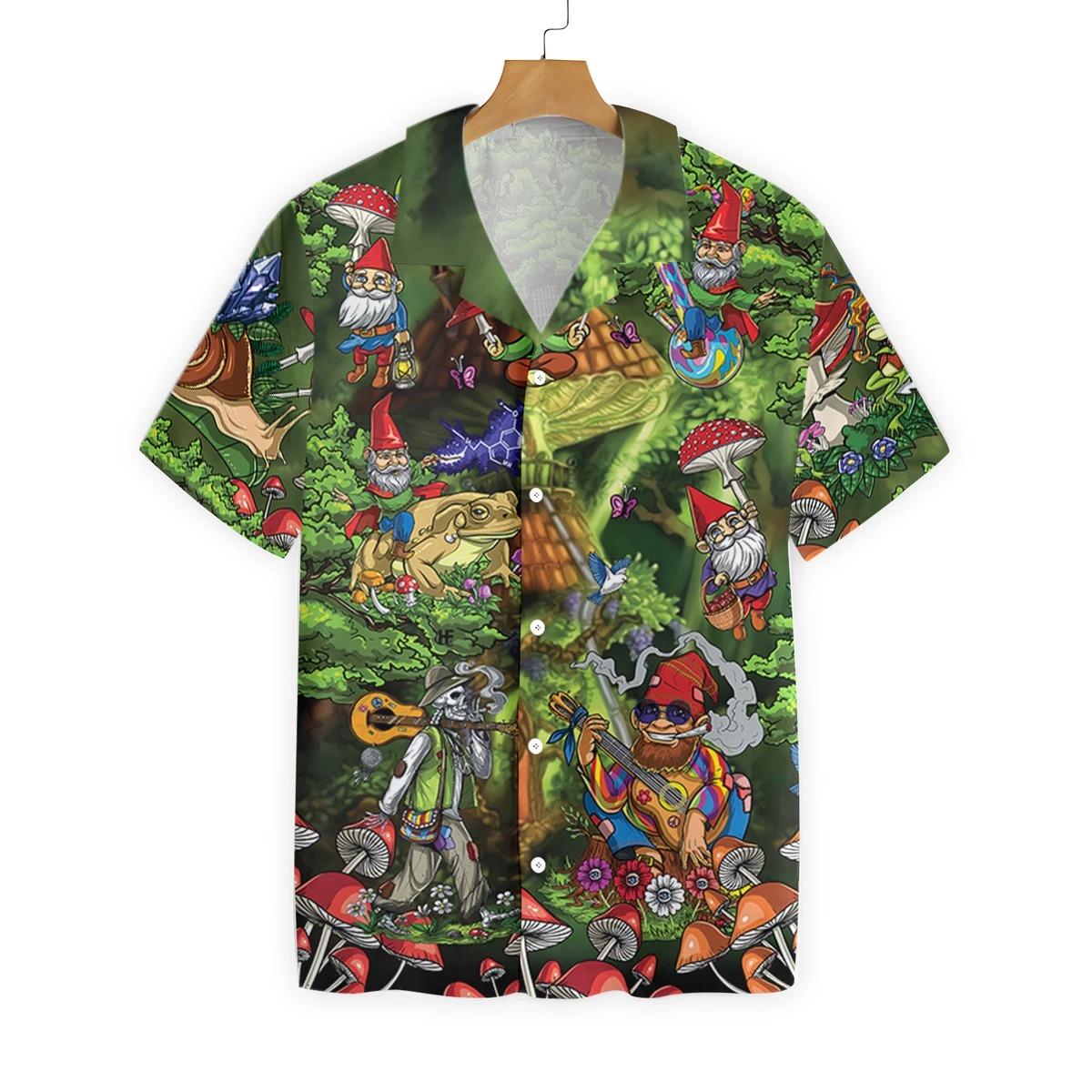 Mushroom Gnome hippie hawaiian shirt