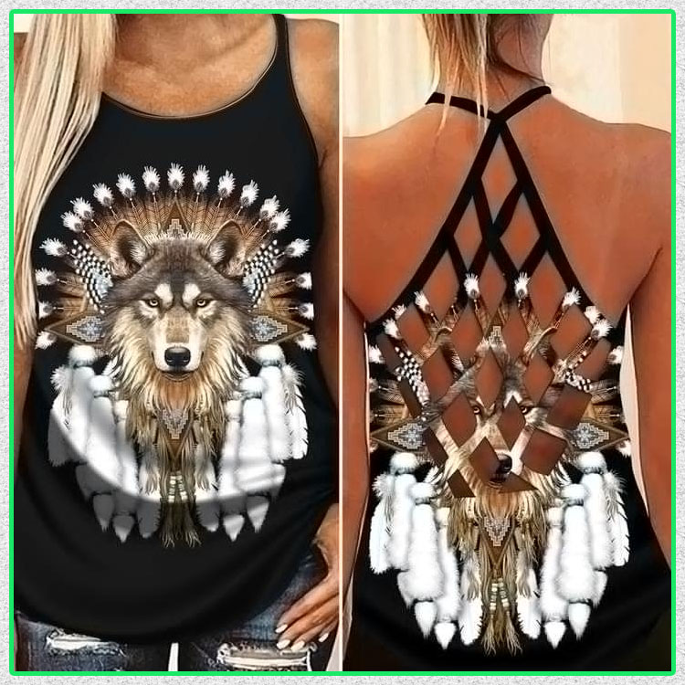 Native Wolf cross criss strappy tank top5
