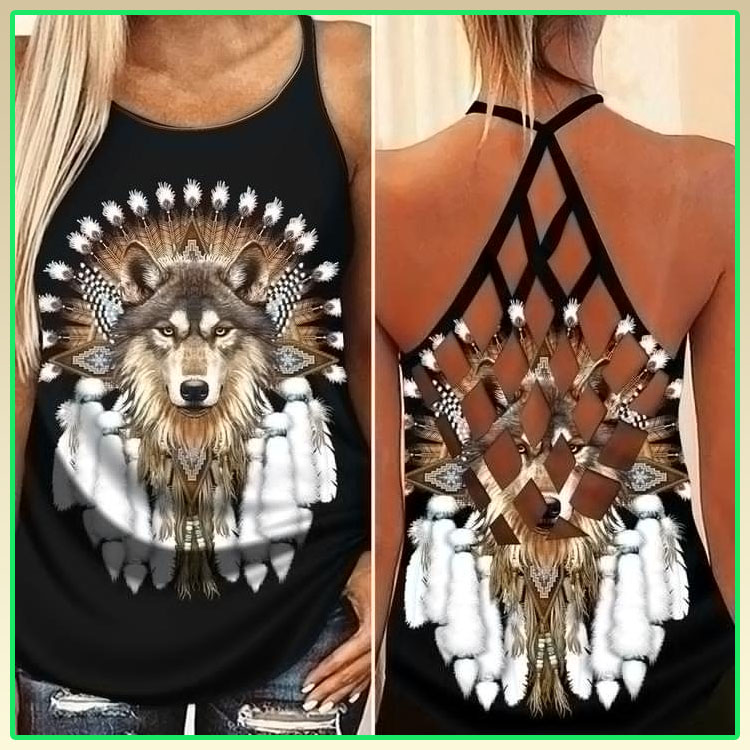 Native Wolf cross criss strappy tank top7