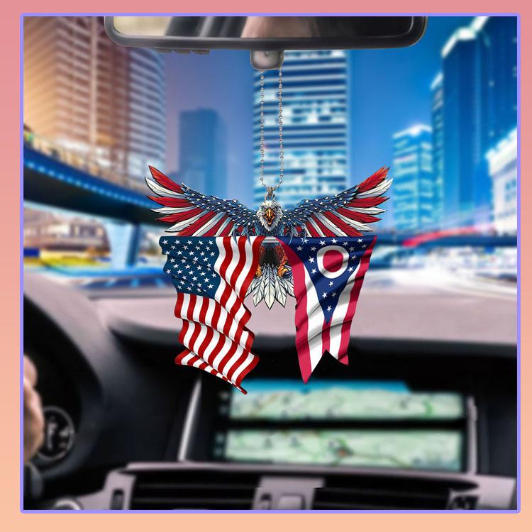 Ohio United States American Eagles flag car hanging ornament5