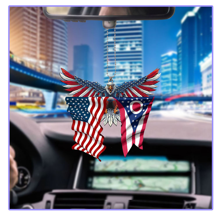 Ohio United States American Eagles flag car hanging ornament7