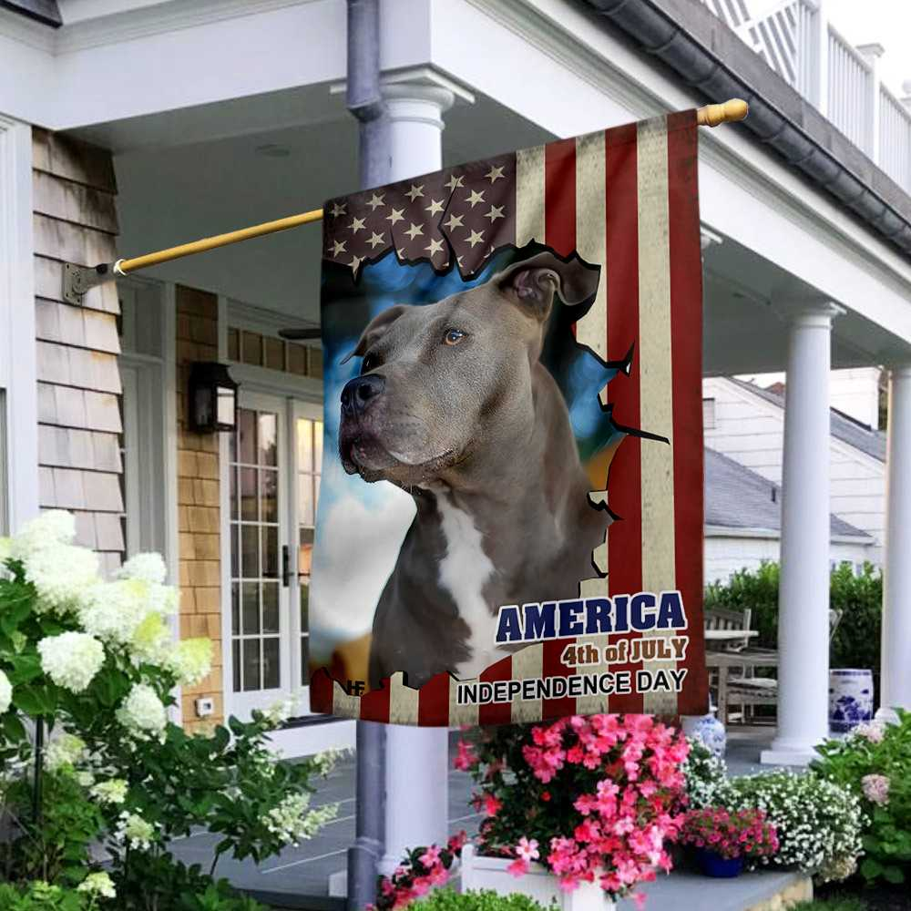 Pitbull American Flag Gift For Independence Day House Flag2