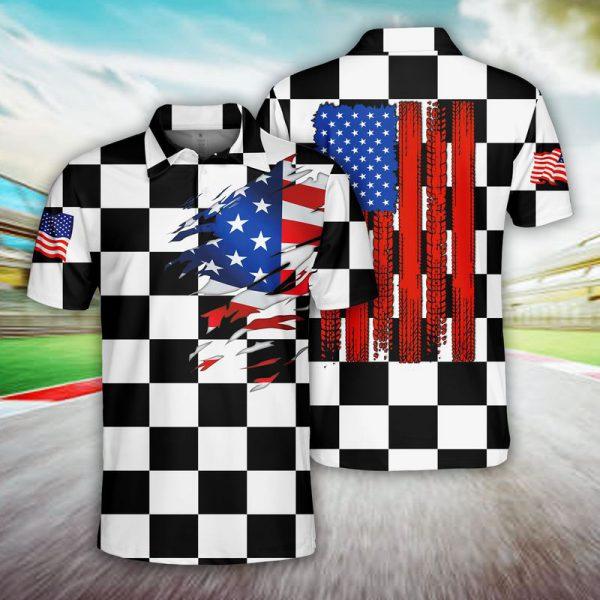 Racing US Flag Polo Shirt