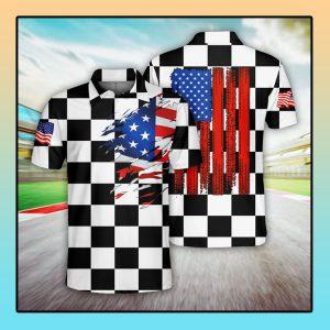 Racing US Flag Polo Shirt1