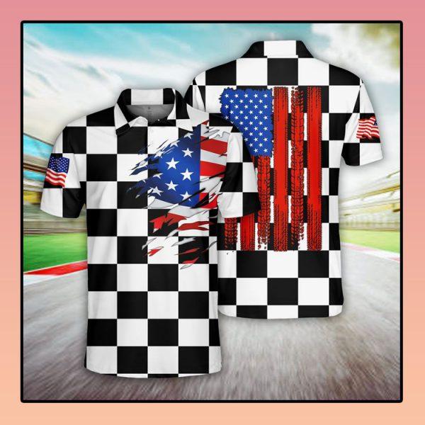Racing US Flag Polo Shirt2