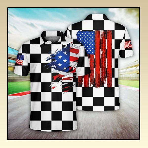 Racing US Flag Polo Shirt3