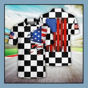 Racing US Flag Polo Shirt4