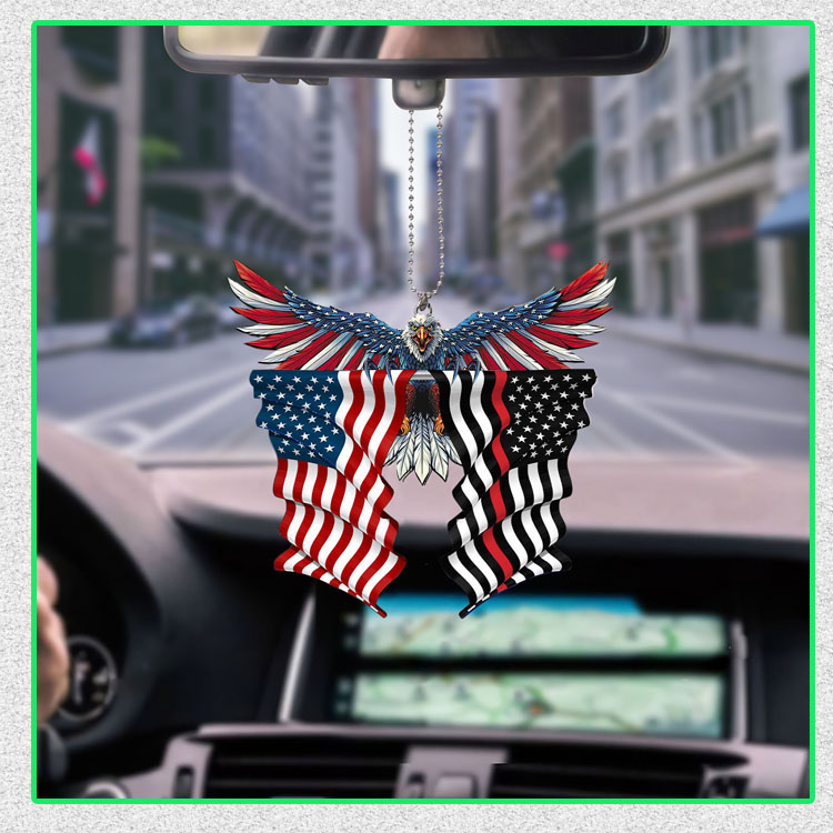 Red line thin firefighter United States American Eagle Flag car hanging ornament5