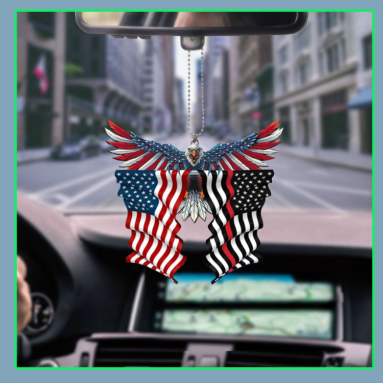 Red line thin firefighter United States American Eagle Flag car hanging ornament6